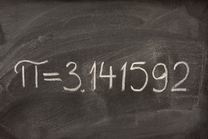 the number pi on a blackboard
